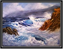 Crashing Wave by Sachin Kaushik (sachin-kaushik) Tags: cliffs landscape oiloncanvas oilpainting scenery seaocean seascape transparentwater waves sachinkaushik