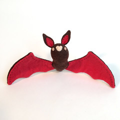Strawberry Bat (MelissaSueArt) Tags: bat wool handmade plush toy embroidery craft halloween strawberry pink