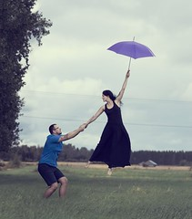 The one that (didn't) get away (tomasbaliukonis) Tags: levitation umbrella fly levitate couple love wind storm sky nikon 85mm girl boy together fun
