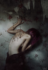 Vulnerant Omnes (Megan Glc Photographe) Tags: sad selfportrait portrait flowers wallpaper cracked light surreal fairy tale hair particles dress nude body back spines dream room wall tapestry girl model