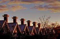 Twilight Marching (Padmacara) Tags: australia fremantle architecture g11 hdr twilight shadowlight chimney tree clouds sky series rhythm