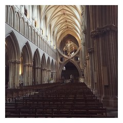 Wells Cathedral, Wells (Domlys) Tags: instagramapp square squareformat iphoneography uploaded:by=instagram interior trip wells england holiday vacation church religion cathedral god jesus christ grey gray impressive architecture building column cultural culture united kingdom uk altar windows light dark contrast