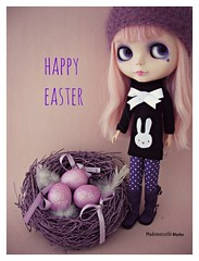 Happy Easter! (mademoiselleblythe) Tags: purple nest eggs dots custom moshimoshi happyeaster laboutiquedelupi happibug