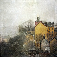 Fog Over Stockholm (Milla's Place) Tags: city winter mist fog buildings cityscape sweden stockholm sdermalm foggy textures textured photomix magicunicornverybest magicunicornmasterpiece besteverexcellencegallery
