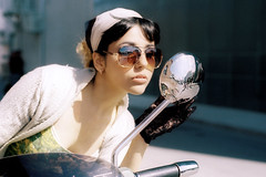 Mirror, Mirror (Illusive Photography) Tags: film vintage model vespa danielle scooter retro nikkor50mmf18 kpa bakersfield nikonf5 portra400 kerncounty kodal illusivephotography antipordaphotography