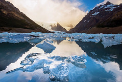Laguna Torre with Ice (CNaene) Tags: morning light patagonia snow mountains cold ice water argentina clouds sunrise trekking carved glow pieces cloudy lookout glacier peaks viewpoint mirador cerrotorre losglaciaresnationalpark lagunatorre poincenot