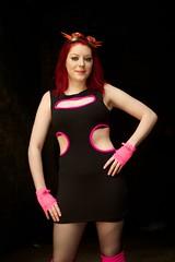 IMG_2721 (Neil Keogh Photography) Tags: pink red people girl photoshoot leg goggles warehouse gloves gothgirl warmers leggings blackdress cyberdog modellara portraitphoto manchestercitycenter