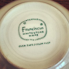Franciscan Interpace Whitestone Ware Mark. (Alice et Christine) Tags: vintage square squareformat rise dinnerware midcenturymodern franciscan mcm whitestoneware potterymark interpace iphoneography instagramapp uploaded:by=instagram