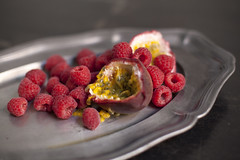 Passionfruit & Raspberries II (Artichoke Photography) Tags: food home fruit grey still herbs passionfruit