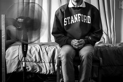 Self Portrait (ambrizphotography) Tags: life longexposure portrait blackandwhite bw self fan still university sitting indoors stanford