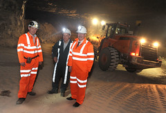 Minister Sammy Wilson down in the salt mine in kilroot, Carrickfergus. Pictured with the Minister are (l-r) Jason Hopps, Mine Surveyor, Alwyn McCreanor, Company Administrator (Northern Ireland Executive) Tags: saltmine finance financeminister carrickfergus dfp kilroot sammywilson centralprocurementdirectorate