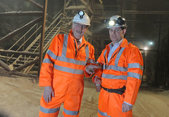 Finance Minister pictured with Jason Hopps, Mine Surveyor during his visit to the Carrick Salt Mine (Northern Ireland Executive) Tags: saltmine finance financeminister carrickfergus dfp kilroot sammywilson centralprocurementdirectorate