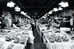 Noryangjin fishmarket, Seoul (jonas_k) Tags: blackandwhite bw fish night market korea fisch seoul octopus markt schwarzweiss dealer noryangjin hndler