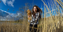 In the reeds, Boo the Pomeranian. (CWhatPhotos) Tags: pictures camera fish eye that lens photography eos prime focus foto view angle image artistic pics wide picture pic images fisheye have photographs photograph fotos manual which contain sunderland 65mm aspherical opteka primelens fisheyed cwhatphotos