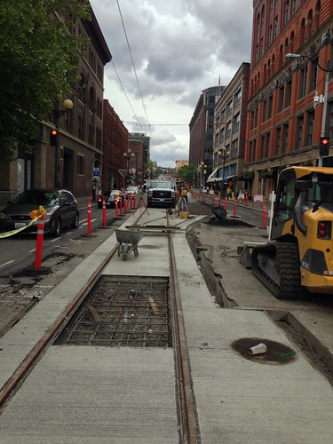 First Hill Streetcar track construction on Jackson St east of Occidental Ave