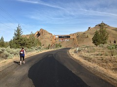 Maria on main road to ranch near start of geocaching competition Photo
