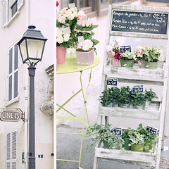 there are streets that should never remain unwalked (sma_kee) Tags: street old flowers summer paris france collage french diptych streetlamp mosaic pastel streetphotography montmartre pastels florist ladder chic parisian sunnyday dippy summerlove softtones softcolors summermemories vintagetones vintagelookingphotography
