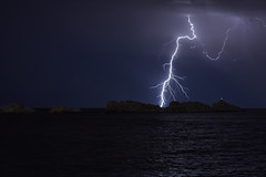 Lightning Strike - Grebeni Reef (mark_mullen) Tags: sea lighthouse seascape storm weather night landscape croatia lightning hr dubrovnik thunder adriatic lightningstrike hrvatska dalmatia electricalstorm forklightning lapad royalprincesshotel canon24105 babinkuk importanneresort canon5dmk3 markmullenphotography grebenireef