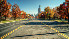 Benjamin Franklin Parkway (mhoffman1) Tags: road street city autumn trees ireland urban fall philadelphia leaves drive unitedstates pennsylvania cityhall seasonal flags international parkway philly luxembourg liberia lithuania benfranklinparkway ivorycoast comcastcenter leadinglines sonyalpha a7r countryflags