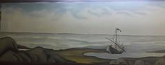 FISHING-BOAT  (Eggoiltempera painting) (tomas491) Tags: fishingboat eggoiltemperapainting painting drawing waves sky blowing art fantasy stones sea cloud
