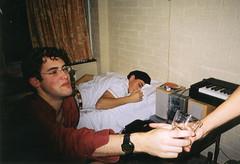 Cesc's birthday (Gary Kinsman) Tags: hampsteadstudentcampus hampstead childshill nw3 kidderporeavenue london film kingscollegelondon kcl hallsofresidence studentcampus students university fun youth young 2001 ellison flash bedroom candid unseen birthday hat