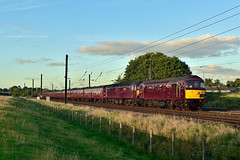 33207 'Jim Martin' and 47327 at Chaloners Whin (Alexander Cromarty) Tags: 33207jimmartin 47237 chalonerswhin 1z23scarboroughtocarnforth scarboroughspaexpress york eveninglight sulzer class33 crompton class47 doubleheader eastcoastmainline ecml wcrc westcoastrailwaycompany type2sulzer finalscarboroughspasummer2016