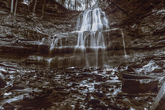 Sherman Falls aka Angel Falls (lnoelle89) Tags: angel falls sherman hamilton ontario waterfall wow sepia bw blackwhite ndfilter hammertown hike outside outdoors trail brucetrail bruce water rocks escarpment shadows highlights calm happy love trees flowing calming canon canon6d canonphotography canonofficial canada canoncanon f13 longexposure neutraldensity stoppeddown hamiltonwaterfalls trending hot contrast sserene whiteblack depthoffield depth texture monochrome field dof eos landscape