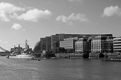 The Thames (D_Alexander) Tags: uk england london riverthames hmsbelfast blackandwhitephotography