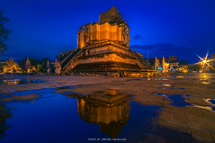 WAT CHEDI LUANG VARAVIHARA (::: a j z p h o t o g r a p h y :::) Tags: temple chedi ruins building old waterreflection reflection twilightsky chiangmai thailand travel tourism touristattraction touristdestination lanna famousplace ancient