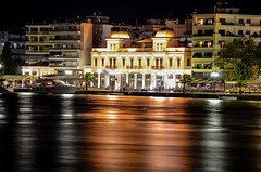 Old town hall of Chalkis (kutruvis nick) Tags: greece greek hellas evia chalkis old townhall architecture buildings sea water trees night lights longexposure boat reflections nik kutruvis nikon d5100