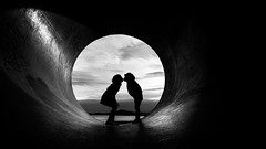 And I don't know where I'll be tonight (Bhalalhaika) Tags: love silouette bw mono kiss tunnel tube norway oslo opera