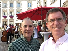 Jeff and Paul at wine festival, Stiftsplatz, Hall in Tirol, Austria (Paul McClure DC) Tags: paulmcclure hallintirol austria österreich tyrol tirol sept2016 people innsbruckland historic architecture