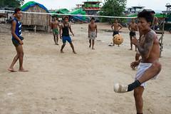 Games between work in Mandalay (Jeff Williams 03) Tags: mandalay myanmar burma games chinlone sepak takraw irrawaddy river workers