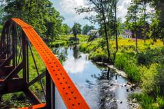 Railway Bridge (Jens Haggren) Tags: olympus em10 railway bridge creek reflections trees landscape sky clouds strömsberg tämnarån uppland sweden