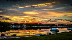One of the best . . . (Dr. Farnsworth) Tags: sunset clouds colors yellow red orange reflections pontoon boats fall hdr westlake mi summer september2016