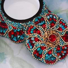 Santa Fe by Verdonna Westcott - close up (Verdonna.com) Tags: santa fe native american red turquoise mosaic box glass antique jeweled jewel encrusted embellished bedazzled mehndi paisley ball chain swarovski rhinestones
