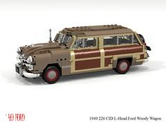 Ford 1949 Woody Wagon (lego911) Tags: ford 1949 woody wagon 1940s classic usa america auto car moc model miniland lego lego911 ldd render cad povray lugnuts challenge 107 saturdaymorningshownshine saturday morning show n shine spinner foitsop