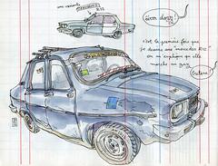 renault 12 (lapin barcelona) Tags: car sketch vintagecar sketchbook morocco maroc usk lapin croquis travelbook urbansketchers