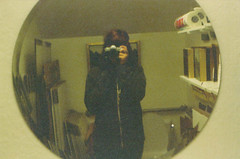in a bathroom (makenna snyder) Tags: park city slr art film me self circle bathroom mirror gallery lol grain pic grainy vivitar selfie