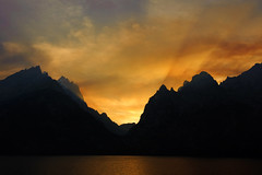 Jenny Lake (bhophotos - not for much longer) Tags: travel sunset red orange usa lake mountains nature yellow landscape geotagged fire nikon smoke forestfire wyoming tetons jacksonhole controlledburn wy grandtetonnationalpark jennylake cascadecanyon gtnp d700 2470mmf28g bruceoakley