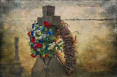 Flowers on a Cross (jta1950) Tags: flowers plant painterly texture cemetery grave graveyard stone cross gravestone reef grungy texturetime lenabemanna