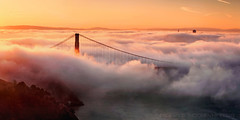 The North Tower - Golden Gate Bridge (Andrew Louie Photography) Tags: morning bridge sun fog sunrise golden gate san francisco peace