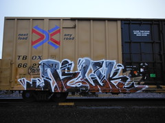 NEWK (2ONE5-1981 (S.O.B.A.)) Tags: art oregon train bench graffiti northwest graf tags spraypaint boxcar bombs westcoast steaks railroadtracks throwup handstyles americansteel hobomonikers