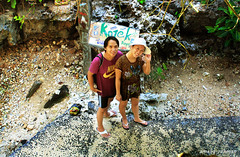 Achay & Vina - Blue Point Beach (Amelia Rahman) Tags: boy people bali holiday beach girl indonesia fun rocks bluepoint