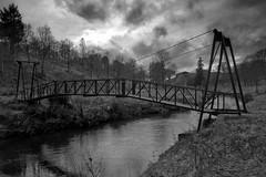 footbridge suspense (Ray Byrne) Tags: bridge blackandwhite bw iron suspension footbridge monotone alnwick northumberland riveraln raybyrne hulnepark byrneoutcouk webnorthcouk
