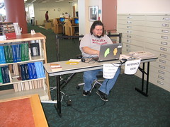 Ed in our temporary referance desk (Clearwater Public Library System Photos) Tags: construction desk main demolition magazines informationdesk reference clearwater mainlibrary cpls 2013 clearwaterpubliclibrary clearwaterpubliclibrarysystem clearwatermainlibrary mainlibraryconstruction