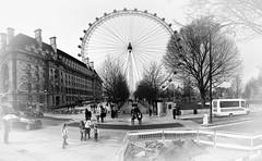 London Eye (CROMEO) Tags: city london eye blanco wheel arbol photo europa shoot day y gente negro ciudad millenium dia panoramic nubes londres nublado vistas ingles turismo vacaciones cr noria ingleses turism turistico atraccion londinense cromeo
