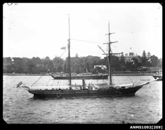 Schooner, possibly HMS DART, moored near Government House, Sydney Harbour