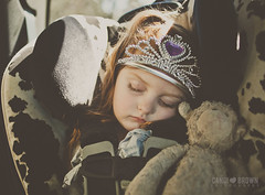 Sleeping Beauty 17/52 (CandiBrown) Tags: light sleeping red brown tiara window girl beauty car cow shadows child princess redhead carseat coco stuffedanimal crown safe asleep ptm candi lambie britax candibrowncom