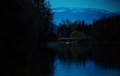 2013 04 24 Grindrod Bridge in moonlight over the  Shuswap River  BC 0144 (Wendy Nuttall 1) Tags: car lights tail snowymountain shadesofblue calmshuswapriver earlyspringevergreens